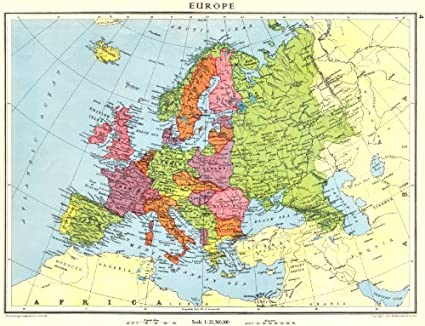 Amazon.com: EUROPE. Europe shortly before World War 2-1938 - old map ...