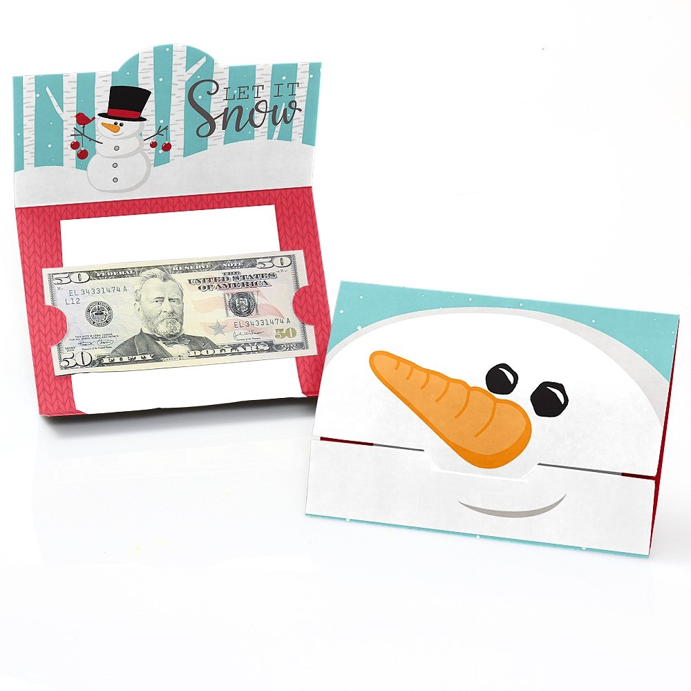 Let It Snow Snowman Holiday Christmas Money and Gift Card Holders Set of 8