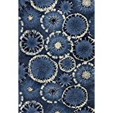 KAS Rugs Allure Collection Starburst Area Rug, 5-Feet X 7-Feet, Blue