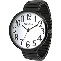 Black Super Large Face Easy to Read Stretch Band Watch