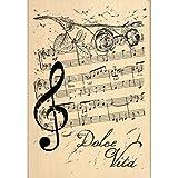 Florilèges Design FG114039 Tampon Scrapbooking Notes de Musique Beige 10 x 7 x 2,5 cm
