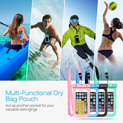 Mpow Waterproof Case, Universal IPX8 Waterproof Phone Pouch Underwater Phone Case Bag for iPhone X/8/8P/7/7P, Samsung Galaxy S9/S9P/S8/Note 8, Google Pixel/HTC up to 6.0'' (Pink Blue Black Green) by Mpow (Image #5)