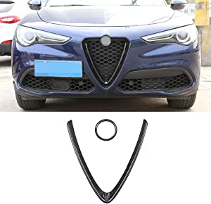 Carbon Fiber Style ABS Plastic Front Grill Decoration Frame Trim For Alfa Romeo Stelvio 2017 2018