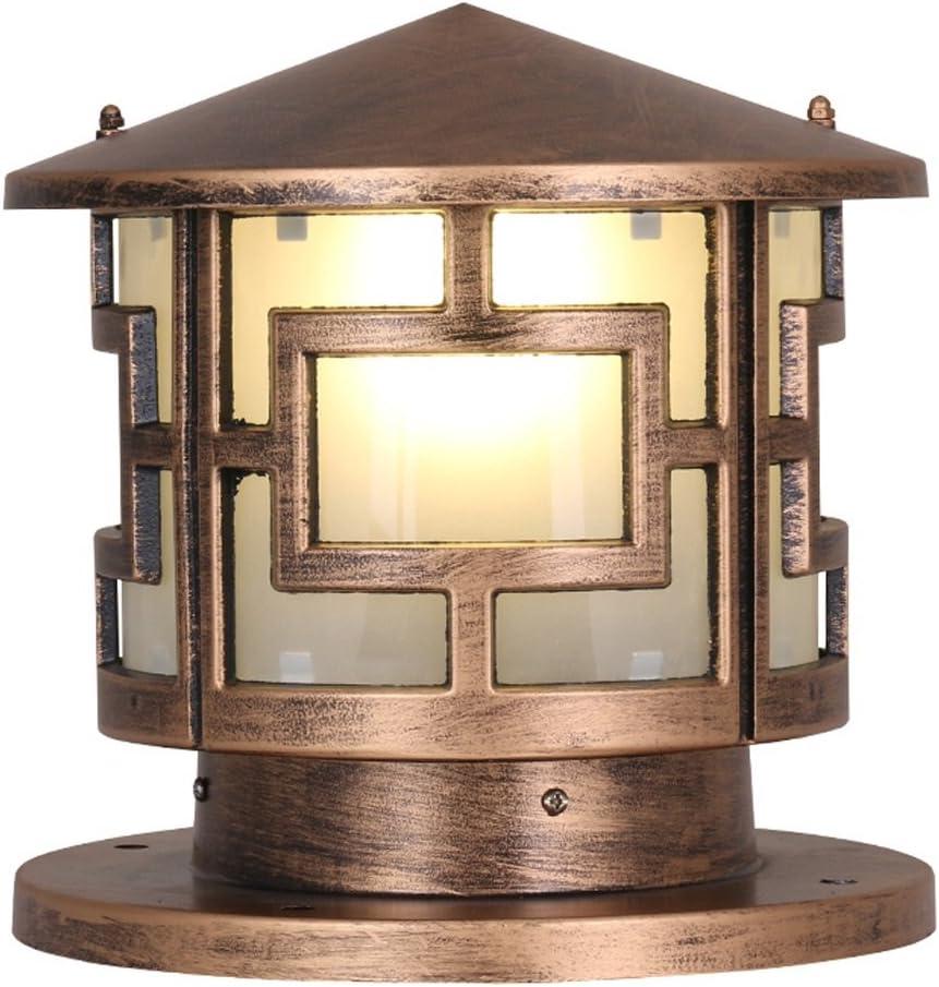 WSXXN Continental Retro Villa Im Freien Wasserdichte Spalte Lampe Straßenlaterne Post Licht Säule Zaun Hof Außenleuchten (Farbe : Messing-Durchmesser 25cm) Messing-durchmesser 25cm