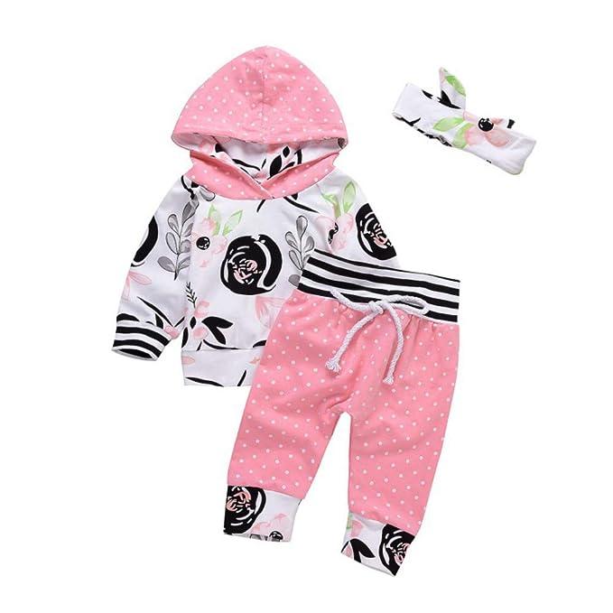 Stirnband f/ür 0-24 Monate EFINNY Neugeborenen Baby Floral Kleidung Set 3 St/ücke Langarm Strampler Hosen