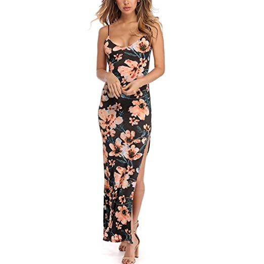 Vovotrade Fashion Womens Long Dress, Floral Printed Party Dress Backless Split Evening Dress Bodycon Ball