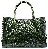 PIFUREN Designer Crocodile Top Handle Handbags Womens Genuine Leather Tote Bags M1107 (Small Size, Small Size Green)