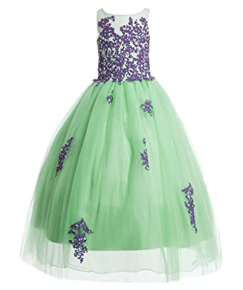 FAIRY COUPLE Girls Ball Gown Floor Length Applique Flower Girl Dress K0169 8 Mint and Purple
