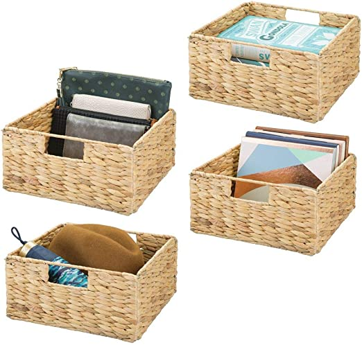 MetroDecor mDesign Weaved Collapsible Folding Storage Cube with Handles Pack of 2 Natural