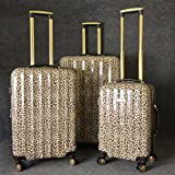 Brown Luxury Leopard Theme Rolling Upright Spinner Wheeling Suitcase 3-Piece Set, African Leopard Themed, Exotic Safari Jungle Zoo Wild Animal Print, Travel Luggage with Wheels, Fashionable, Unisex