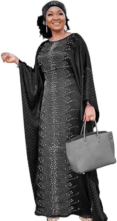Gold Beaded Dubai Kaftan Purple Chiffon African Dresses Abaya for Women Maxi Gown