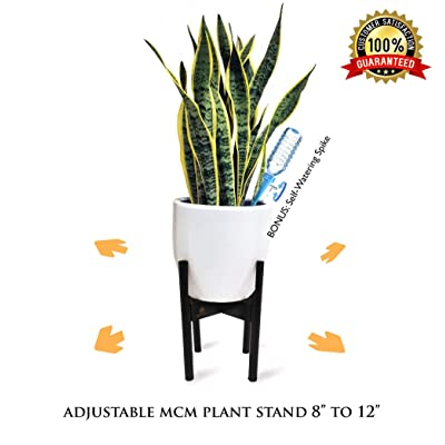 """Extendable Mid Century Modern Plant Stand for Pot Sizes 8"""" to 12"""" in Black 