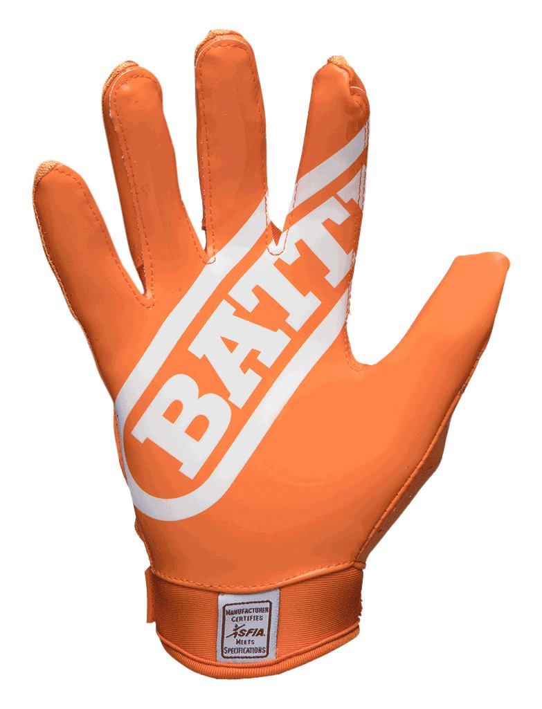 Battle Double Threat Adult Football Gloves, Orange/Orange, Small