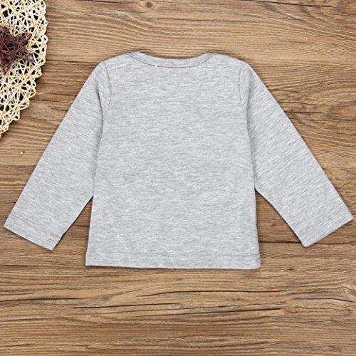 Omiky® Kinder Baby Boy Langarm Weihnachten Kleidung Set T-shirt + Plaid Hosen 2 STÜCKE Outfits Grau