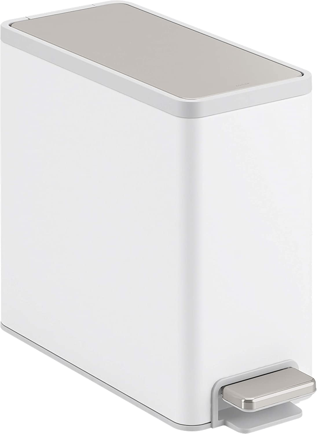 KOHLER K-20957-STW 2.5 gallon Slim Step Trash Can, White With Stainless Steel