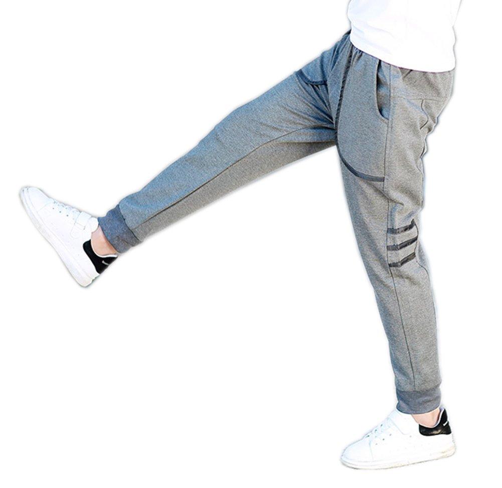 Big Boy's Winter Autumn Skinny Jogger Pants Kid's Cotton Sports Trousers Grey