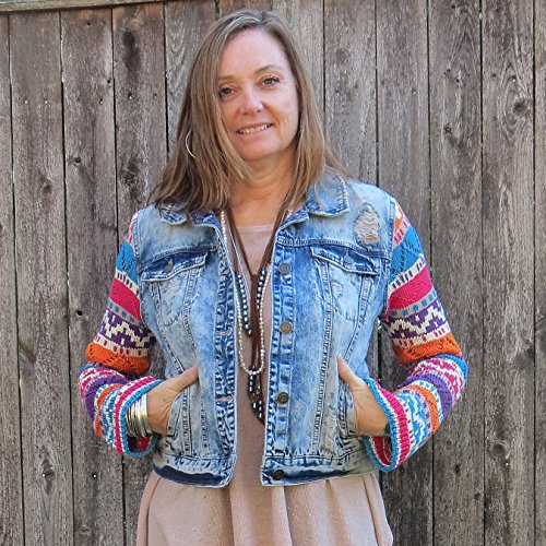 Aztec Colors of Summer Knit Sleeved Mixed Media Xtra Distressed Denim Jacket by Diana by design
