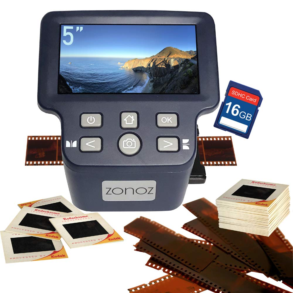 zonoz FS-Four 22MP Digital Film & Slide Scanner Converter w/HDMI Output - Converts 35mm, 126, 110, Super 8 & 8mm Film Negatives & Slides to JPEG - Large 5'' LCD, Easy-Load Adapters & 16 GB SD Card