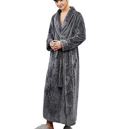 0f7757f1ec Image Unavailable. Image not available for. Color  GJFeng Flannel Bathrobes for  Men and Women Long Thick Coral Fleece Robes Warm ...