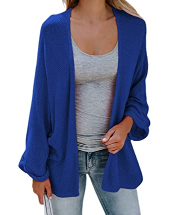 ShallGood Femme Cardigan Automne Hiver Manche Longue Tricot Cardigans Pull  Casual Col V Couleur Unie Ample fd3a42fe8e0d