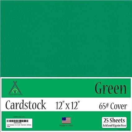 c5f9721d897 Amazon.com  Green Cardstock - 12 x 12 inch - 65Lb Cover - 25 Sheets