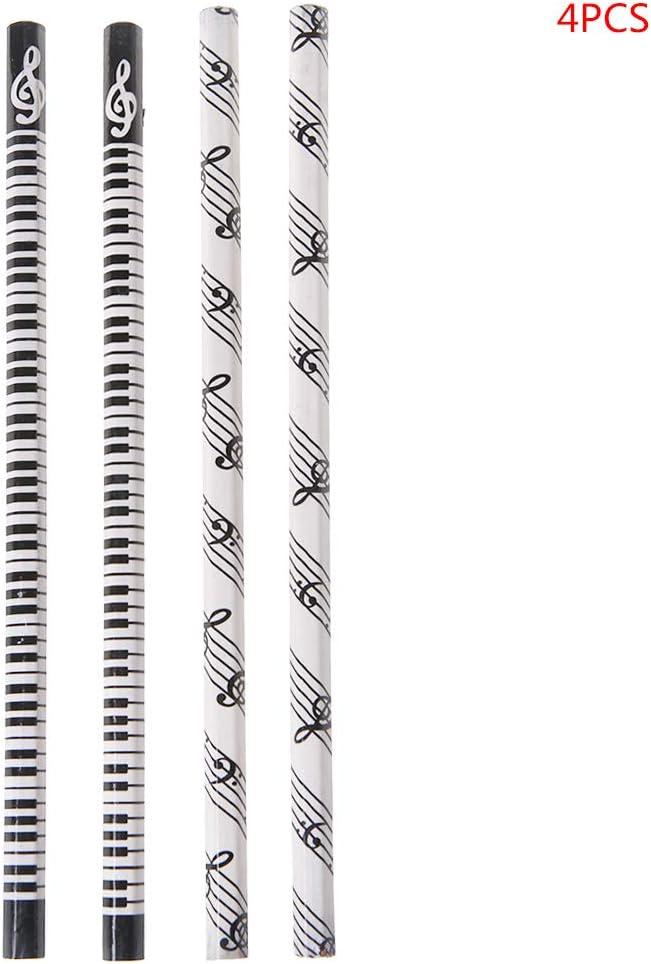 Guizhou Lot de 4 crayons de notes de musique standard HB pour piano notes de musique Cadeau scolaire
