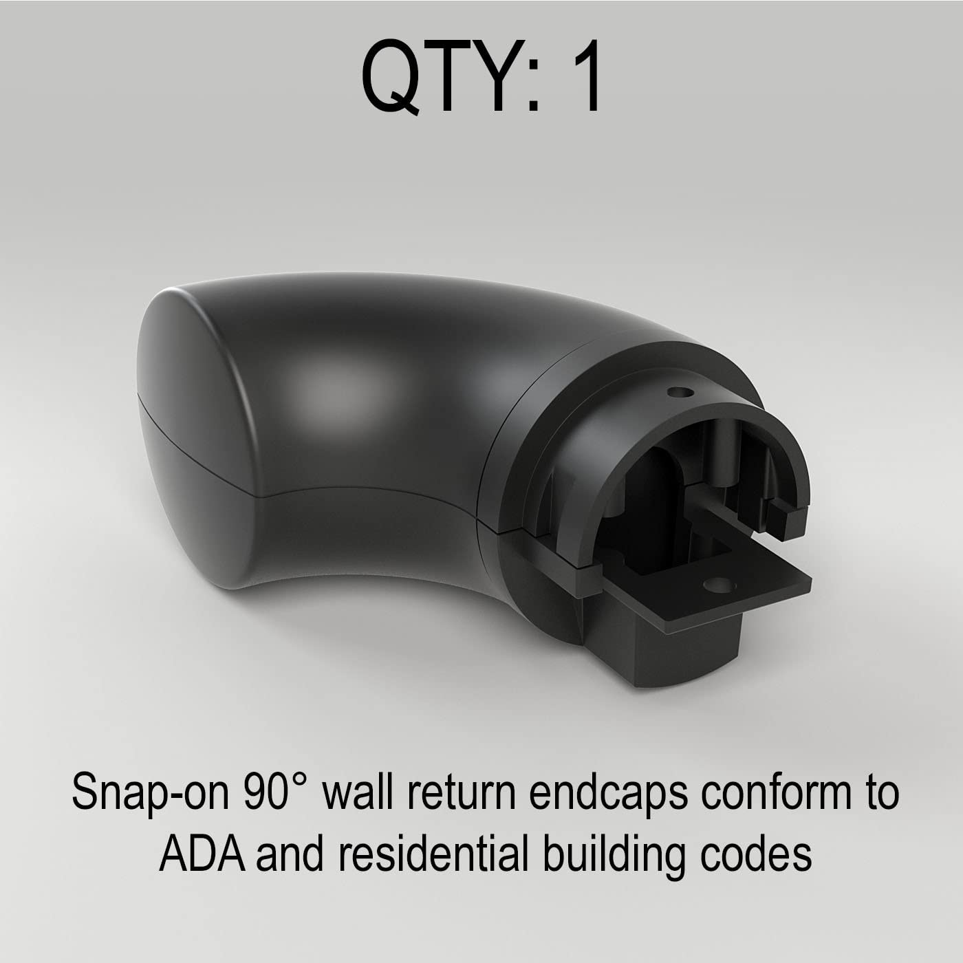 ADA Compliant for Promenaid Handrail System Only Wall Return Satin Black Finish Clip in Place with Set Screw
