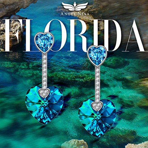 Angel Prova Oceano Passata 925 Florida Confezione Realizzato Elegante Donna Regalo Sgs Pendenti In Giacca Senza Con Argento Blu Nina Swarovski Cuore Sterlina Orecchini Nickel Cristalli rRqw4rFn