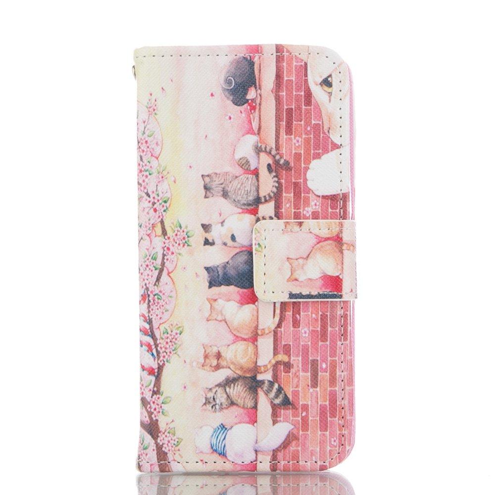 Custodia Sony Xperia Z3 MINI, ISAKEN Xperia Z3 Mini Flip Cover Case, Sony Z3 Mini Wallet Cover con Strap, Elegante borsa Fiori Design in Pelle Sintetica Ecopelle PU Case Cover Protettiva Flip Portafoglio Case Cover Protezione Caso per Sony Xperia Z3 MINI /