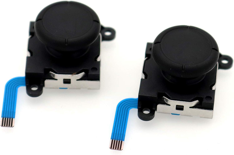 Deal4GO 2-Pack Black Joycon Thumbsticks Analog Joystick Button Module Replacement for Nintendo Switch/Switch Lite Controller Sticks Fixes Drift (3rd Generation)
