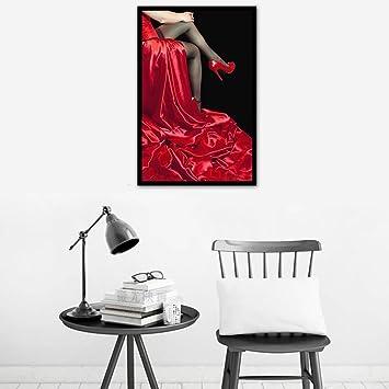 Sexy Rot Lange Kleid Frauen Diamant Malen Nach Zahlen Stickerei