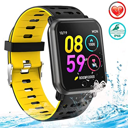 Man Woman Fitness Tracker Smart Watch Wearable Running Activity Tracker with 8 Sport Modes All-Day Heart Rate Blood Pressure Sleep Monitor IP68 ...