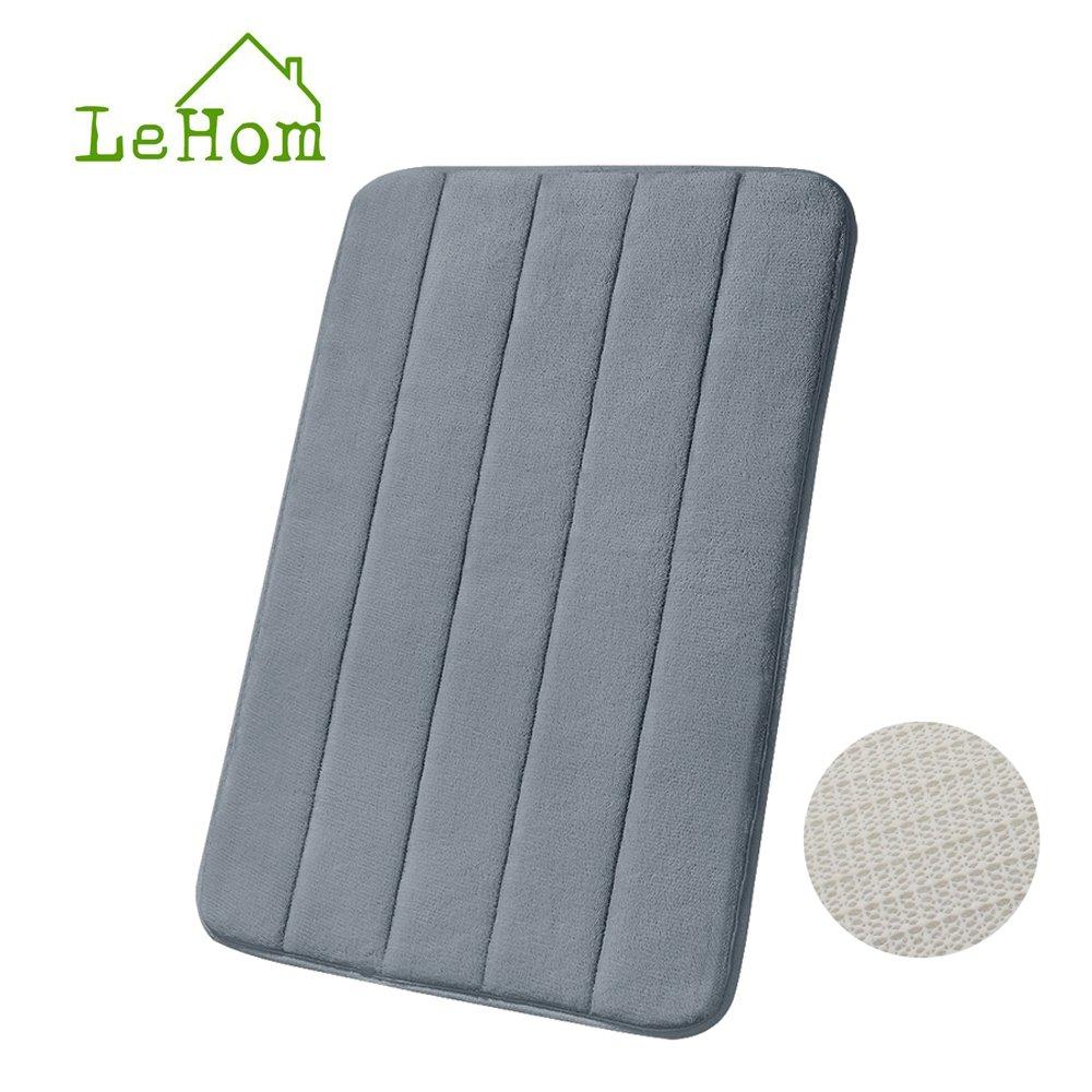 LeHom Baño Gris Antracita Memory Foam 40x 60cm, Alfombra de baño gris para alfombra de baño absorbente de agua rend Alfombrilla de baño gris