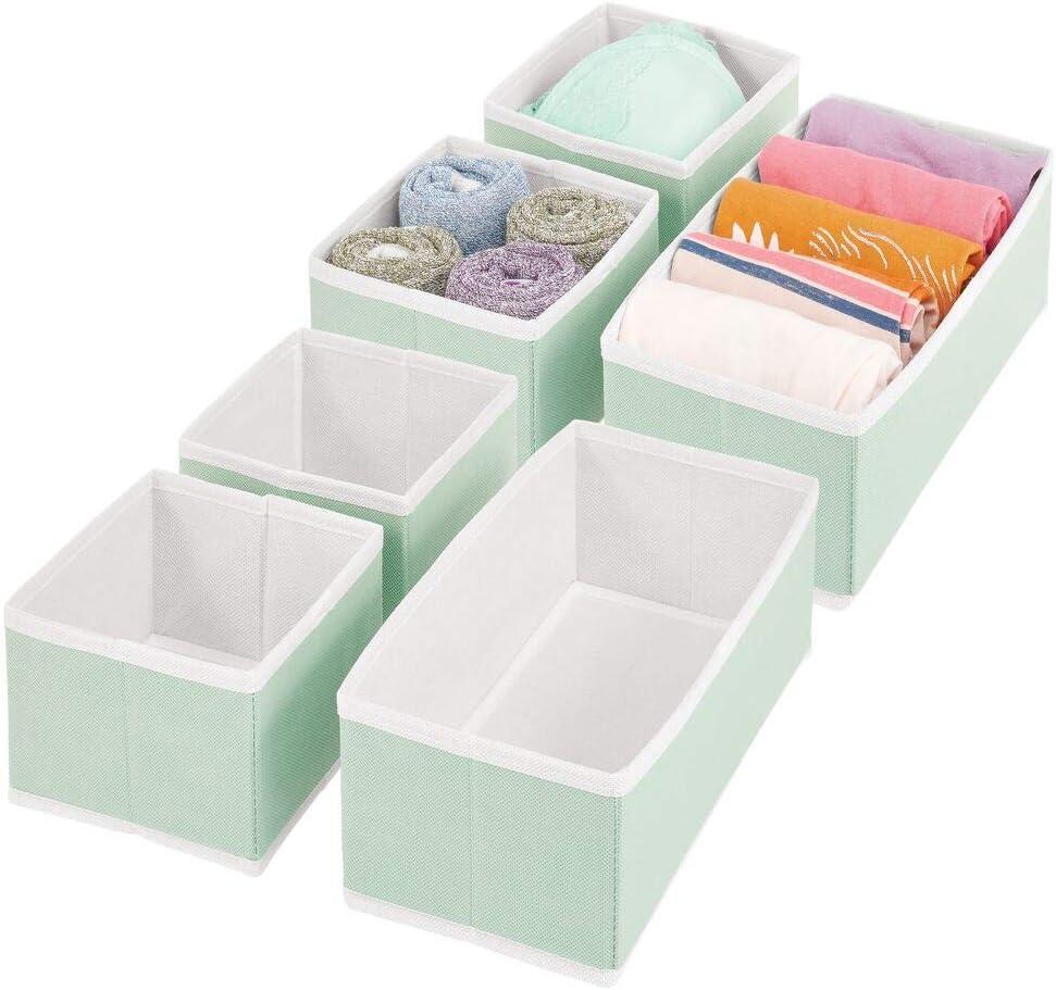Rosa//Blanco Cestas de Tela de Diferentes tama/ños para cajones mDesign Juego de 6 Cajas organizadoras Ropa Interior y m/ás Organizadores para armarios para Guardar Calcetines