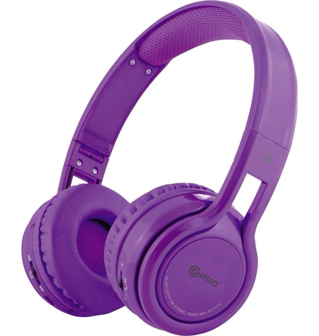 Amazon.com: Contixo KB2600 Kid Safe 85db Foldable Wireless Bluetooth Headphone Built-in Microphone, Micro SD card Music Player, FM Stereo Radio (Purple) ...