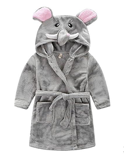 0b95cceca2 Amazon.com  Kids Hooded Terry Robe Fleece Bathrobe Children s Pajamas  Sleepwear  Clothing