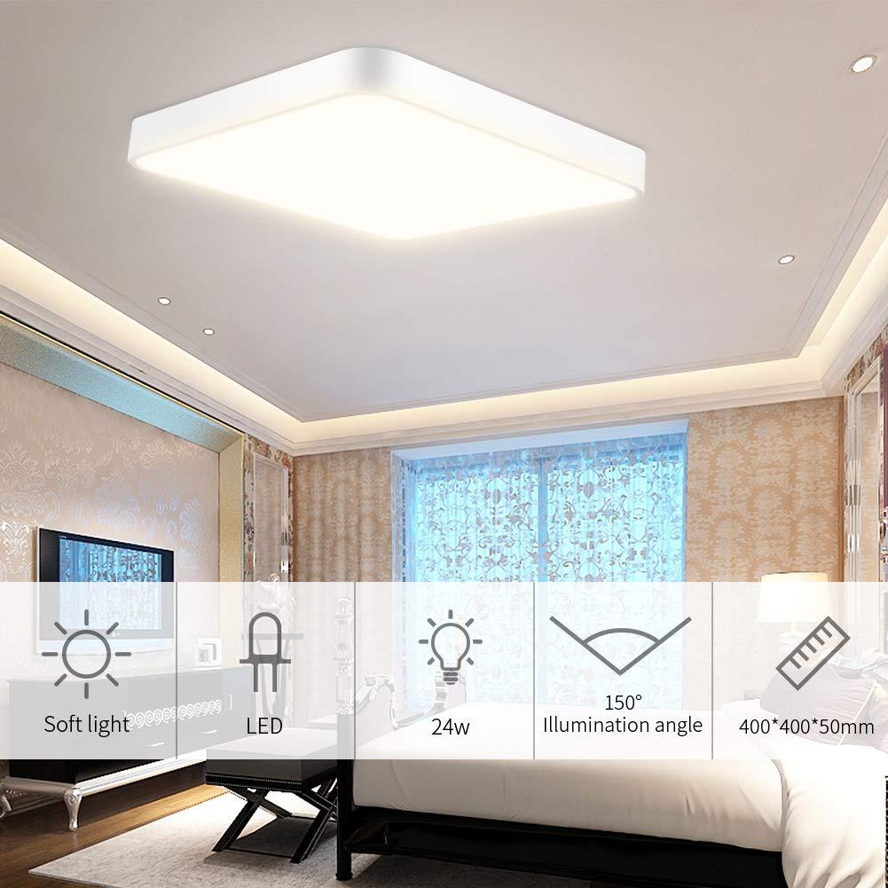 36W Moderno Plafoniera a LED Ultrasottile Lampada a Soffitto Bianco Caldo 3000K per Soggiorno Cucina Balcone Corridoio Sala da Pranzo Camera da Letto Bagno 3600LM Lamp a Sospensione 50cm 50cm