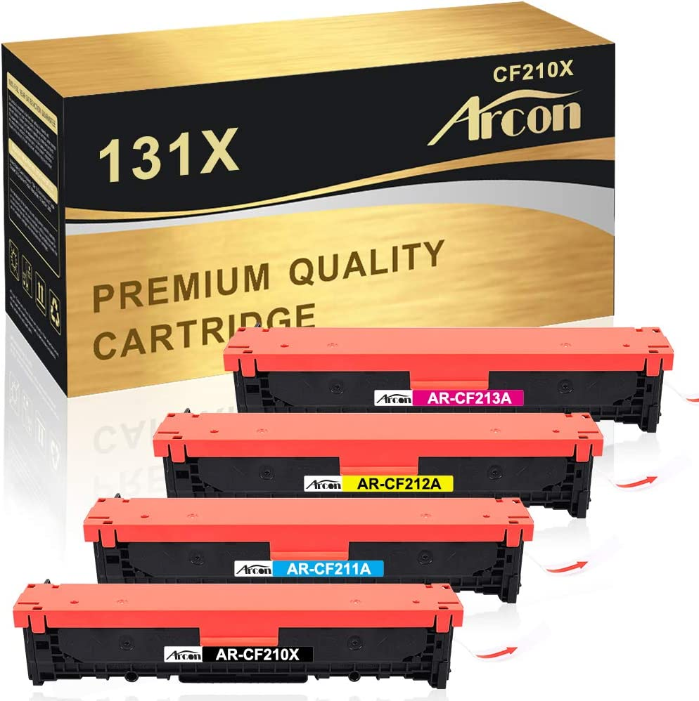Arcon Compatible Toner Cartridge Replacement for HP 131A CF210A 131X CF210X CF211A CF212A CF213A M251nw M276nw for HP LaserJet Pro 200 color M251nw MFP M276nw Canon MF8280Cw LBP7110Cw Toner (4 Packs)