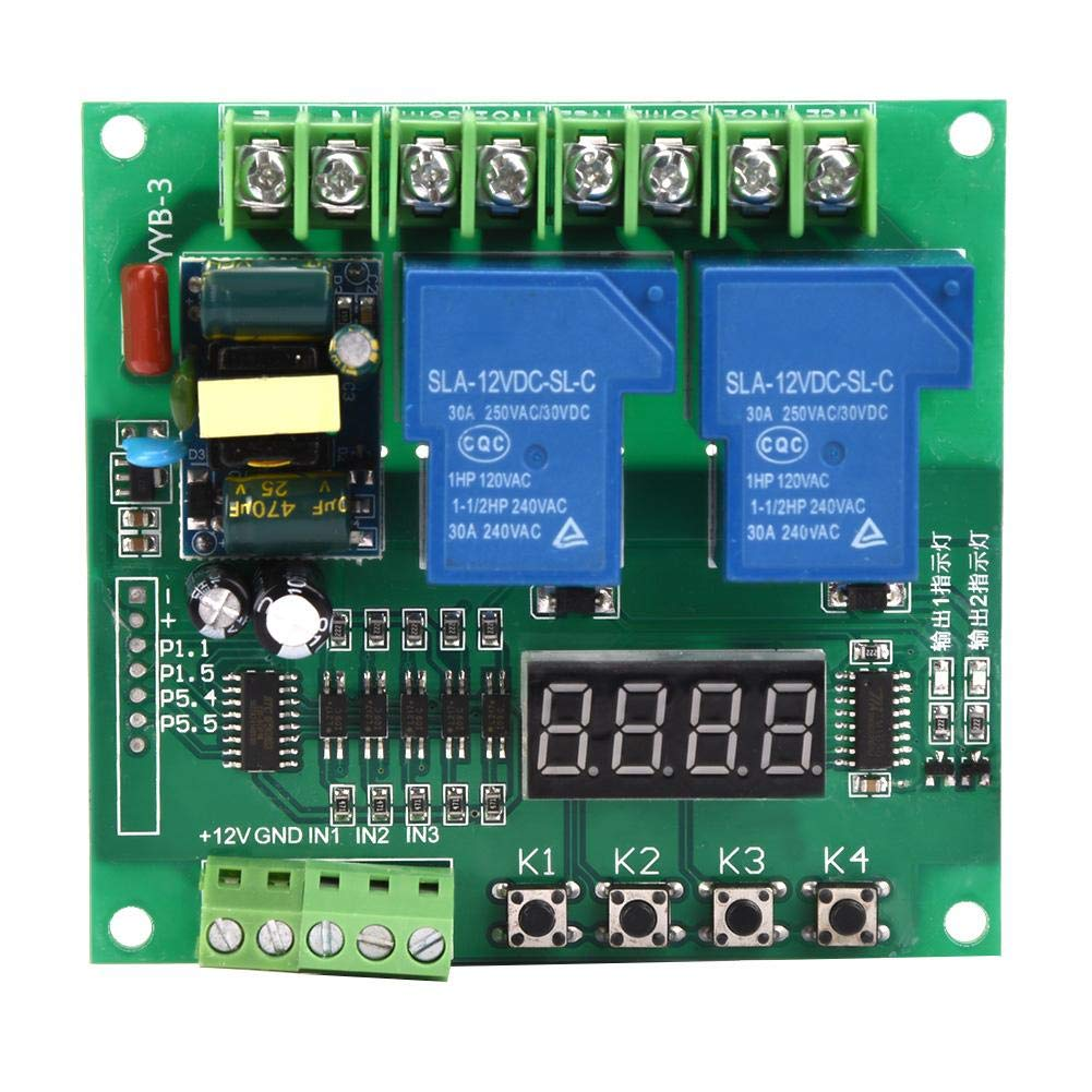 Motor Control Board, AC 110V ~ 250V Motor Forward Reverse Control Board Two Relay Delay Timing Cycle Module for 2-Way Solenoid Valve, Pumps, Motors, Lights by Vikye