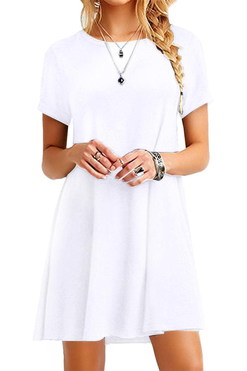 YMING Women Summer Simple Casual Dress Tunic Mini A Line Dress White 2XL