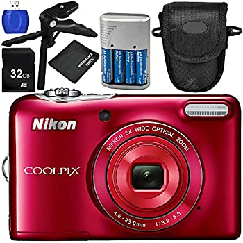 Nikon COOLPIX L32 Digital Camera (Red) 7PC Accessory Bundle – Includes Pistol Grip/Tabletop Tripod + 4x AA Batteries with Charger + MORE