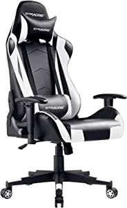 GTRACING Gaming Chair Racing Office Computer Ergonomic Video Game Chair Backrest and Seat Height Adjustable Swivel Recliner with Headrest and Lumbar Pillow Esports Chair White