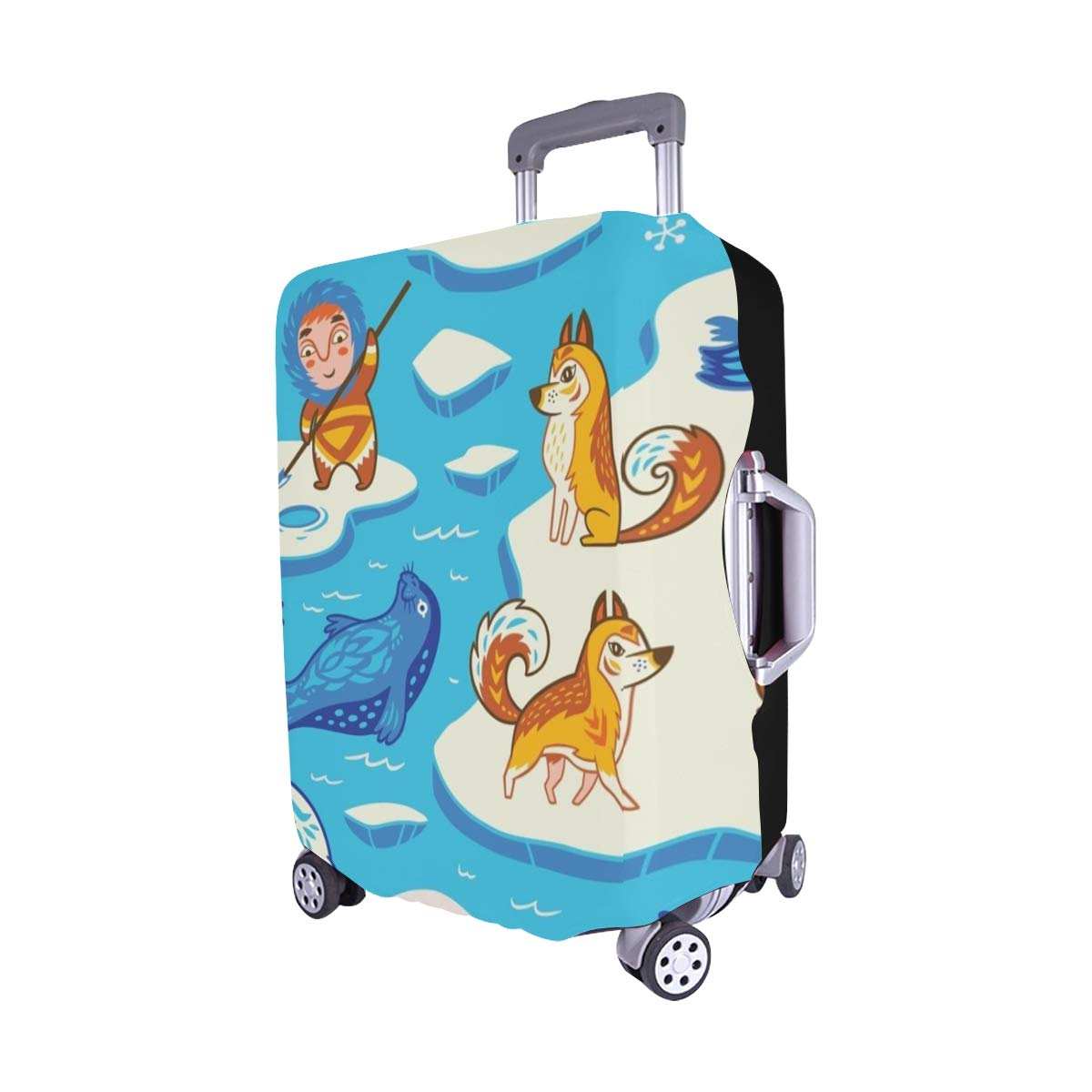 English Alphabet Animals Spandex Trolley Case Travel Luggage Protector Suitcase Cover 28.5 X 20.5 Inch