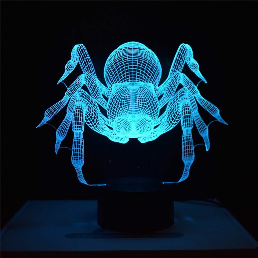 wsloftyGYd Multicolor Halloween Spider Acrylic Visual LED Night Light Table Lamp Kids Gift Black Base
