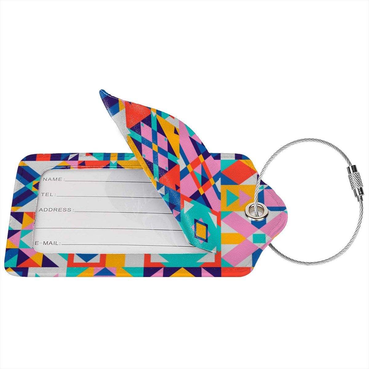 Lucaeat Abstract Texture Luggage Tag PU Leather Bag Tag Travel Suitcases ID