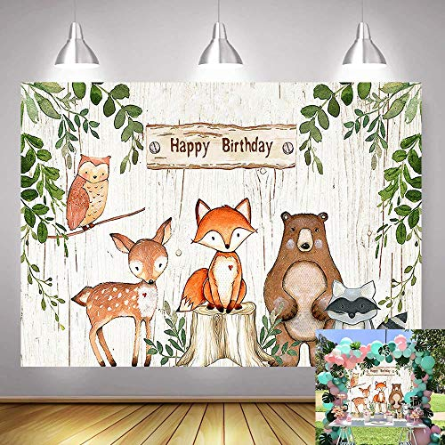 Fanghui 7x5FT Summer Woodland Animals Photography Backdrop Baby Shower Happy Birthday Party Banner Supplies Forest Animals Jungle Background Photo Booth -