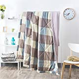 RFVBNM Brief Japan Style Washed Cotton Summer Quilt Air Condition Blanket Super Soft Plaid Adult Children Comforter Bed Cover Home Use,Gray 150 200cm