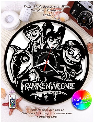 Wooden clock Frankenweenie/Disney clock wooden W0184 /Halloween clock/Tim Burton fan art/Plywood clock/Wooden clock (Black-White-Backlight)]()