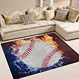 Naanle Sport Area Rug 5'x7', Fire Water Baseball Ball Polyester Area Rug Mat Living Dining Dorm Room Bedroom Home Decorative