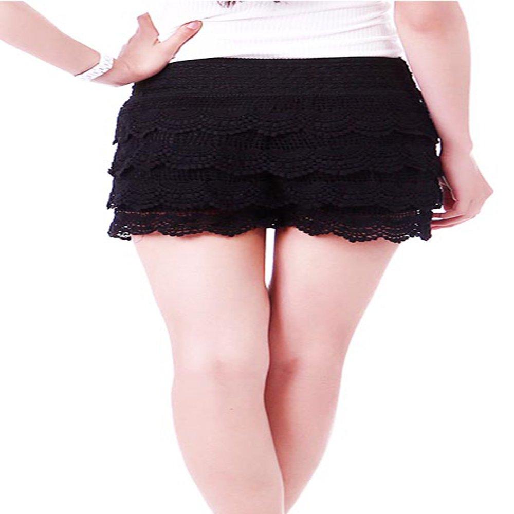 TD Women's Fitted Scallop Hem Crochet Lace Mini Shorts (Plus Size) (2XL, Black)